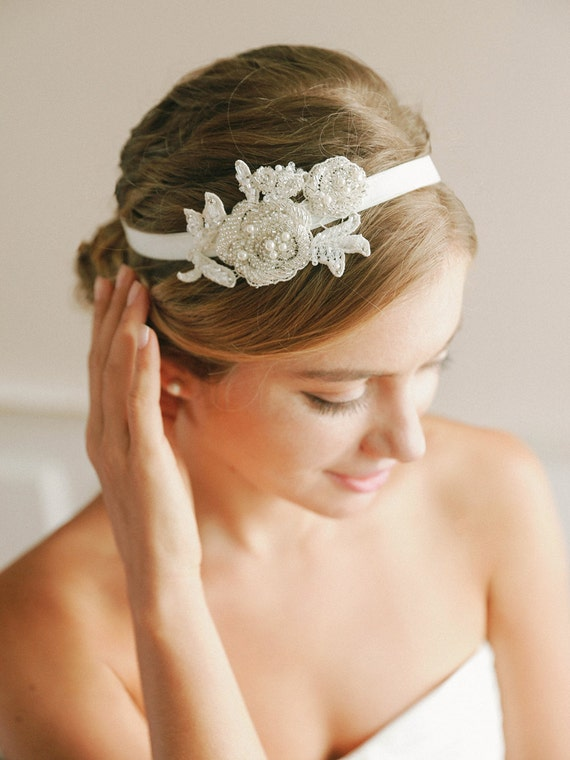 Wedding headband, beaded lace headband, bridal headband, wedding headpiece - style #243