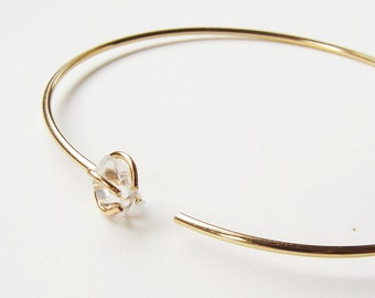 SALE Herkimer Diamond Open Gold Bangle