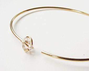Herkimer Diamond Open Gold Bangle