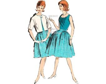 Vintage Easy Sewing Pattern Advance 2889 Sleeveless Blouse, Full Skirt & Bolero Jacket, Bust 34, Uncut, 1960s Fashions