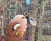 Indian Chief Necklace souvenir Pendant hand painted copper Southwest abalone Victorian shell Jewelry limited edition Unisex native Hand Made