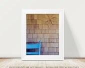 Geometric Architecture Photography, Cottage Decor, Brown Wood and Cornflower Blue, Farmhouse Decor, Rustic Photograph, Minimal Modern Art
