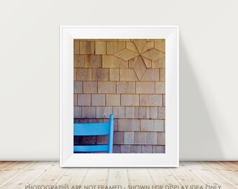 Geometric Architecture Photography, Cottage Decor, Brown Wood and Cornflower Blue, Farmhouse Decor, Rustic Photograph, Minimal Modern Art