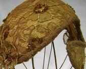 Vintage 1950s Coctail Hat Lace Beads Sequins Form Fit