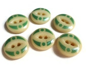 Antique China Stencil Buttons in Mint Green and Cream - 6 Late 1800s-1900 Vintage 5/8 inch 15mm for Jewelry Beads Sewing Knitting