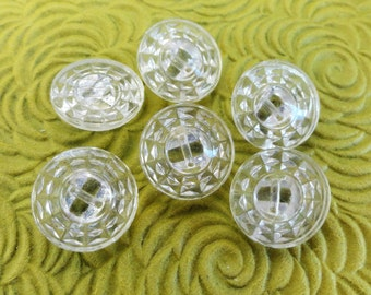 Clear Glass Vintage Buttons - Antique 1940s in Your Choice of Sizes 7/8 inch or 5/8 inch for Jewelry Beads Sewing Knitting