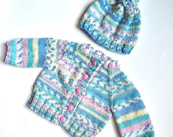 Sweater Hat Set Boy or Girl Norwegian Style Baby 0 1 2 3 month Multi Color pastel colors soft wool acrylic blend for baby girl toddler