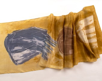 Amber Silk Scarf/ Hand painted scarf/ Crepe de Chine shawl/ Floral scarf/ Gray ocher scarf painted in abstract style/ Luxury gift for mother