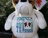 personalized baby gift, stuffed plush dog, stuffed animal, dog, keepsake embroider buddy, best gift ever, bulldog, Original Embroider Buddy