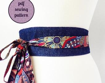 sewing pattern - reversible obi belt (PDF for immediate download)