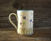 Large Mug in Turquoise with Summer Garden - Pottery Mug - Coffee Mug - by DirtKicker Pottery