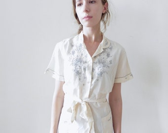 Short Sleeved Embroidered Blouse