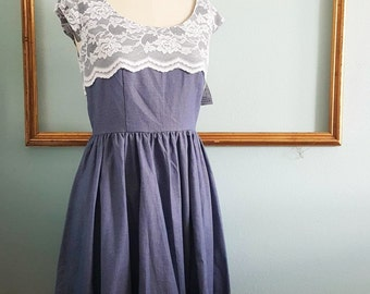 lace and pin dot dress - womens retro clothing