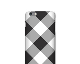 Large Scale Gingham iPhone 7 Case Gray and White iPhone 5S, SE, iPhone 6S Plus Case Checked Pattern