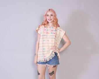 Vintage 70s ETHNIC TOP / 1970s Ethnic Boho Woven Cotton Fringe Tunic Shirt