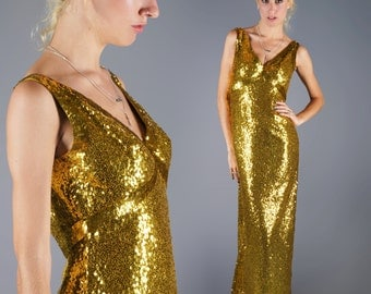GOLD Sequin Dress Head to Toe Sequined Gown Maxi Formal Wear Party Dress Liquid Gold 70s Dress Showstopper Bust 36 Waist 28