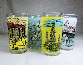 Vintage Drinking Glasses with images of Long Beach CA Queen Mary