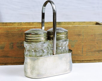 Vintage Salt and Pepper Shaker with Holder-Silver Plated-Molded Glass-Made in France