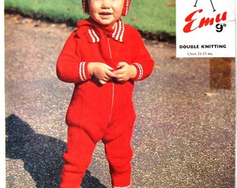 Vintage Romper Suit and Hood Knitting Pattern Emu No 8091 Toddler Childs One Piece Jumpsuit Baby Romper Overalls Jumper Zip Up Suit and Hat