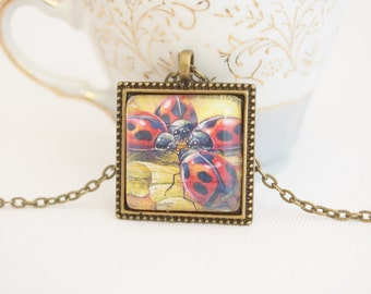 ladybug necklace, upcycled postage stamp Australia 2003, ladybird necklace, red ladybugs