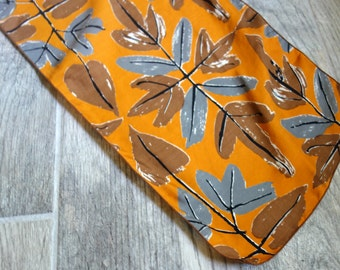 Vintage Vera Scarf, 1970s Long Silk Scarf by Vera Neumann, Fall Leaf Pattern in Orange, Brown, and Grey, Designed and Hand Screened in USA!