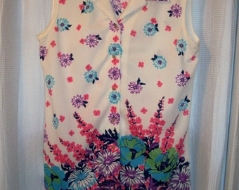 Vintage 70s Sleeveless Border Kint Blouse by MR. FINE of Dallas Sz Large