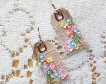 Handmade Mixed Media Assemblage Small Tag Earrings, Pierced, Embellished Pastel Flowers, Pearl Beads, Pink Lace, Boho, Victorian, Steampunk