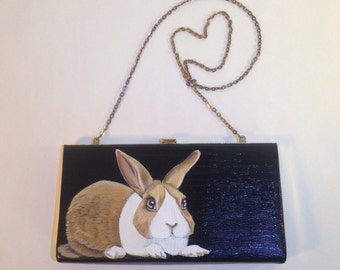 Vegan Dutch Rabbit vintage clutch - handpainted caramel and white bunny on an exquisite 1950s stylish, sophisticated black and gold