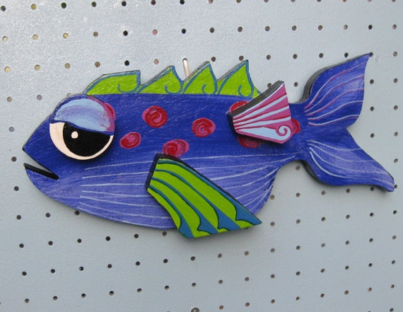 Cartoon Fish Wall Plaque Fun And Funky Colorful Hand