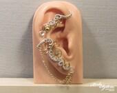 Timeless STEAMPUNK EAR WRAP - wire wrapped ear cuff, steampunk ear wrap, brass and silver earcuff, no piercing ear cuff, steampunk jewelry