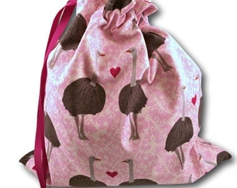 Ostrich Love - Solo Sheepie, a Project Bag for Knitting, Crochet, or Cross Stitch