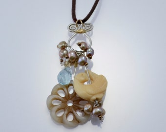 Peace - Necklace with bone dove, blue topaz, soapstone, pearls, sterling silver, gold-filled