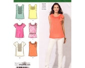 Top Sewing Pattern Simplicity 2599 Sleeveless or Cap Sleeve Top Ruffle Front Tunic Separate Cup Sizes Womens Size 4 to 12 Pattern UNCUT