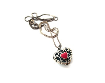 Southwestern Sterling Silver 925 Heart Shaped Genuine Turquoise & Coral Vintage Reversible Pendant Necklace