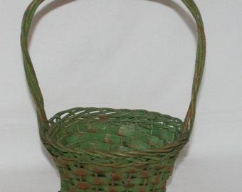 Jadite Green Flower Basket,
