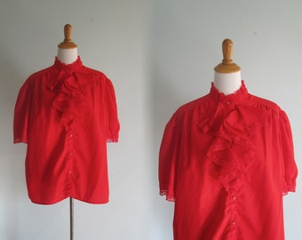 Vintage Red Rockabilly Blouse with Ruffled Bodice - 80s Cutest Red Ruffled Blouse - Vintage 1980s Blouse XL Plus Size