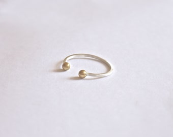 Double Silver Ball Ring,Simple open ring,Open Ring,adjustable ring, stacking ring 0078
