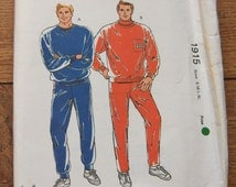 vintage 80s kwik sew pattern 1915 men jogging suits sz S-M-L-XL uncut