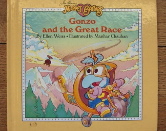 vintage 80s Muppet Babies book Gonzo and the great race children muppets