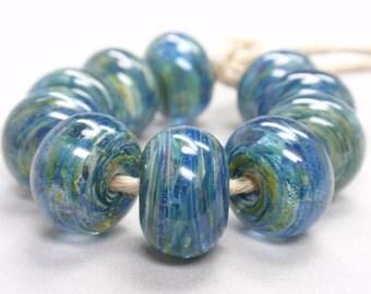 Mosaik Swirls  - 10 Handmade Lampwork Beads SW 227