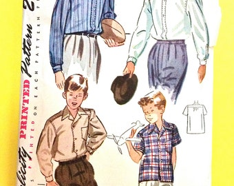 1950s Pattern Simplicity 2543 Printed Pattern to make boys' tailored buttoned front shirt Vintage Sewing Pattern