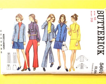 UNCUT Butterick 5601 1960s Misses'  Semi-Fitted Jacket With V-Neckline, A-line Skirt, Overblouse with Tie Vintage Sewing Pattern Bust 38