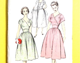 1950s Advance 6386  50s Wrap Dress Wrap-Around Dress Wide V-neckline kimono sleeves darted  Vintage Sewing Pattern Bust 30 Hip 33 inches