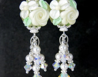 White Rose Earrings, Ivory Floral Glass Pearl & Crystal Dangle Earrings, Nature Earrings, Wedding Jewlery, Lampwork Earrings Bridal Earrings