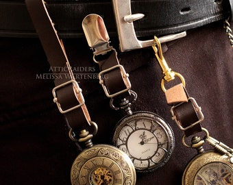 Pocket Watch Holder -Brown - Three piece set