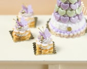 Cream-Filled Sablé with Purple Butterfly - Individual Pastry - Miniature Food for Dollhouse 12th scale 1:12