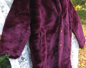 YVES St LAURENT coat in Purple, dark Cherry Plum faux fur winter coat, YSL vintage coat, Ladies coat in dark purple. faux fur jacket