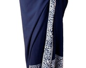 Beach Sarong Batik Sarong - Navy Blue and White Sarong Pareo Wrap - Women's Clothing Wrap Skirt or Dress - Womens Swimwear Swimsuit Coverup