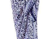 PLUS SIZE Clothing Beach Sarong Pareo Wrap Swimsuit Cover Up Navy Blue & White Sarong Skirt or Dress Batik Sarong Extra Long Plus Size Women