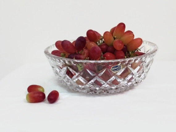 Crystal Bowl - Bohemia - Czech -Fruit - Centerpiece - Dining